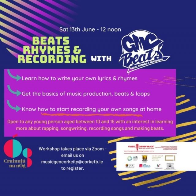 Still a few spots available on tomorrow's workshop - sign up today at musicgencorkcity@corketb.ie to book your place! #wearecork #creativeireland @gmcbeats
