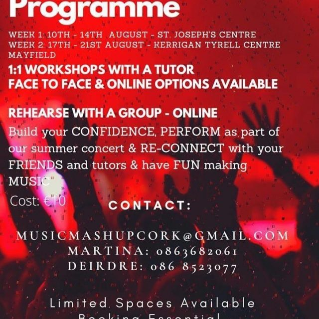 Still spaces on this camp folks - get in touch with Deirdre/Martina either by phone or email to book your spot! @musicmashupcork1